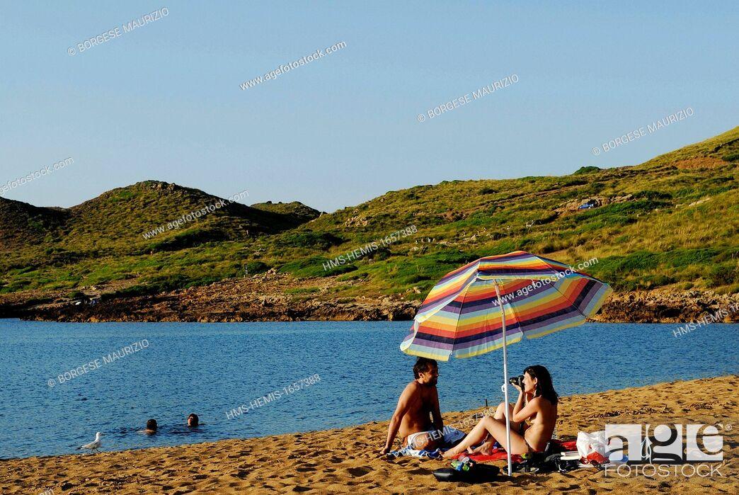 Stock Photo: Spain, Balearic Islands, Menorca, Cala Pilar beaches and rocks.