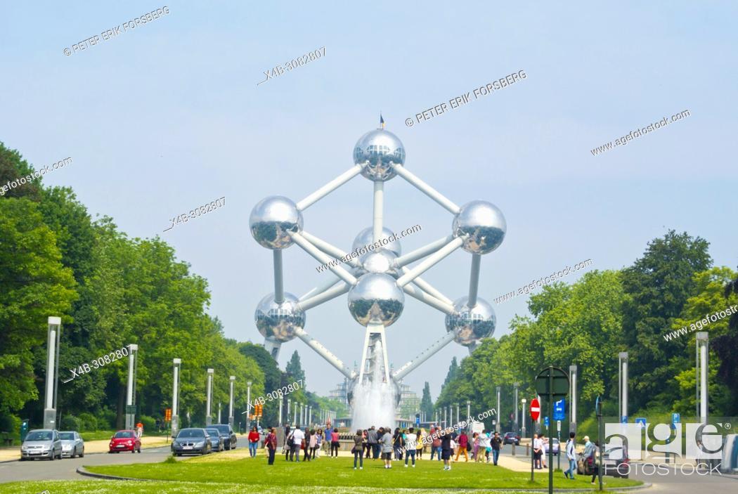 Stock Photo: Atomium, Parc d'Osseghem, Laeken, Brussels, Belgium.
