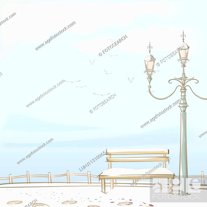 Stock Photo: sky, streetlamp, seagull, sea, fence, snow.