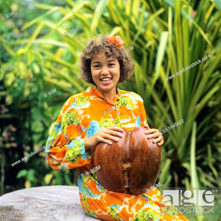 Young Creole Woman With A Coco De Mer Nut Praslin Island