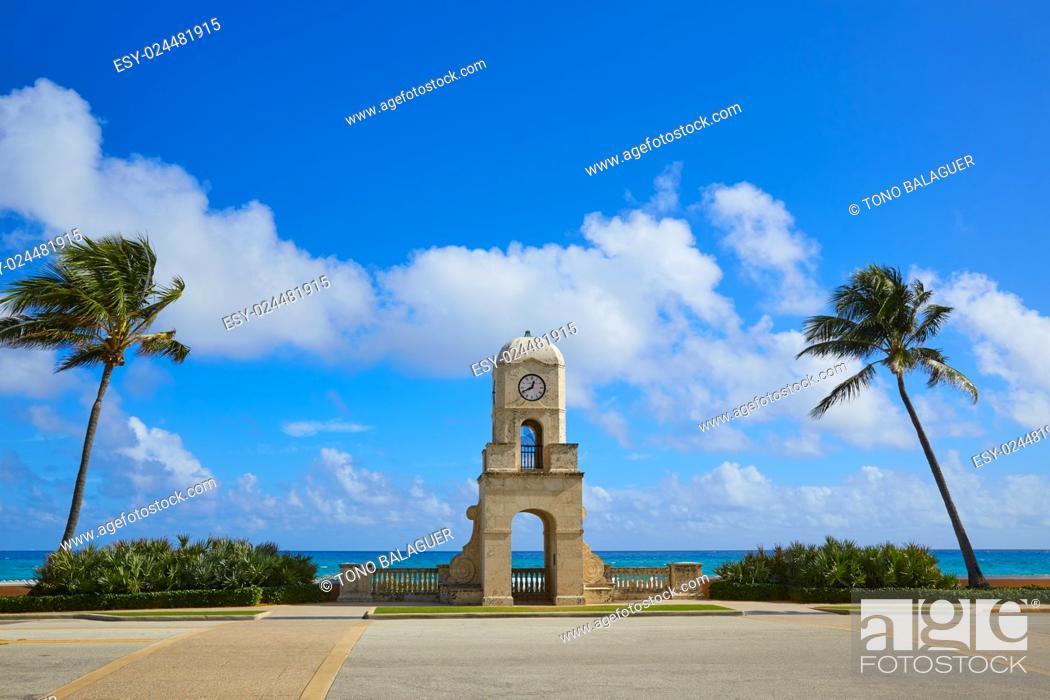 Stock Photo: Palm Beach Worth Avenue clock tower Florida USA.