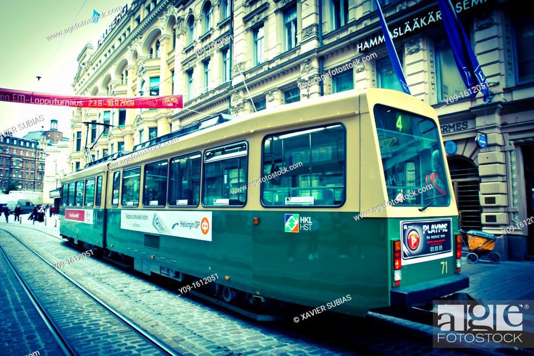 Stock Photo: Tram, Helsinki, Uusimaa, Finland.