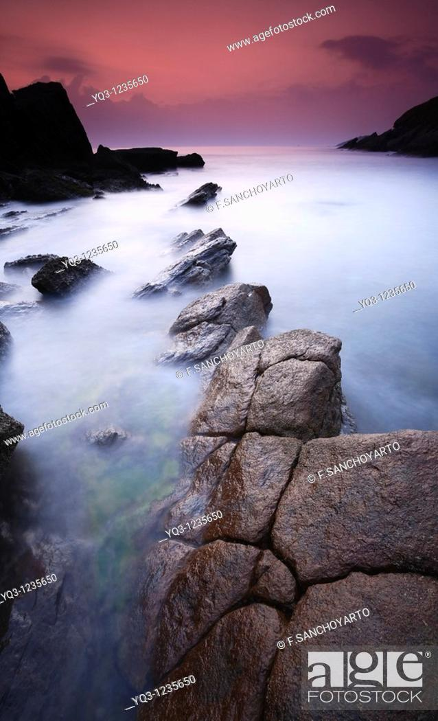 Stock Photo: Sunrise at the Cotonera cove, Islares, Castro Urdiales, Cantabria, Spain.