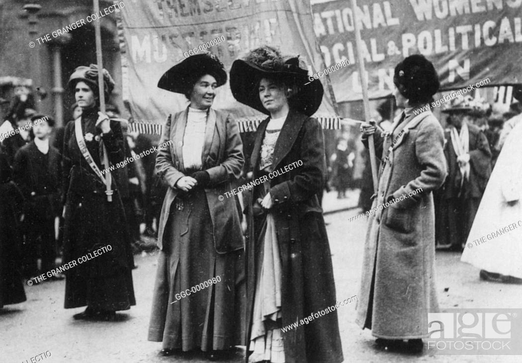 Stock Photo: CHRISTABEL PANKHURST(1880-1958). English woman-suffrage advocate. With Mrs. Emmeline Pethick-Lawrence at a suffragette demonstration by the Women's Social and.