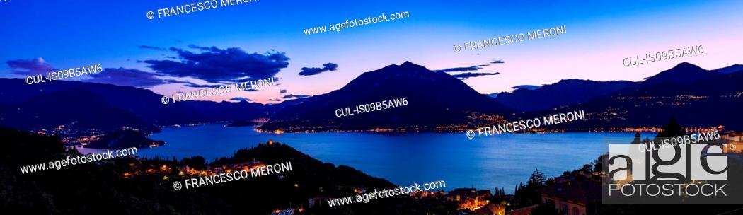 Stock Photo: View of mountains across Lake Como, Varenna, Italy.