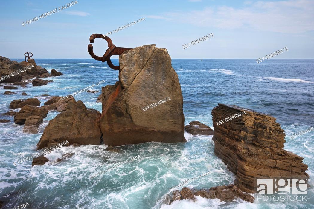 Stock Photo: San Sebastian coastline landscape, Basque country, Spain.