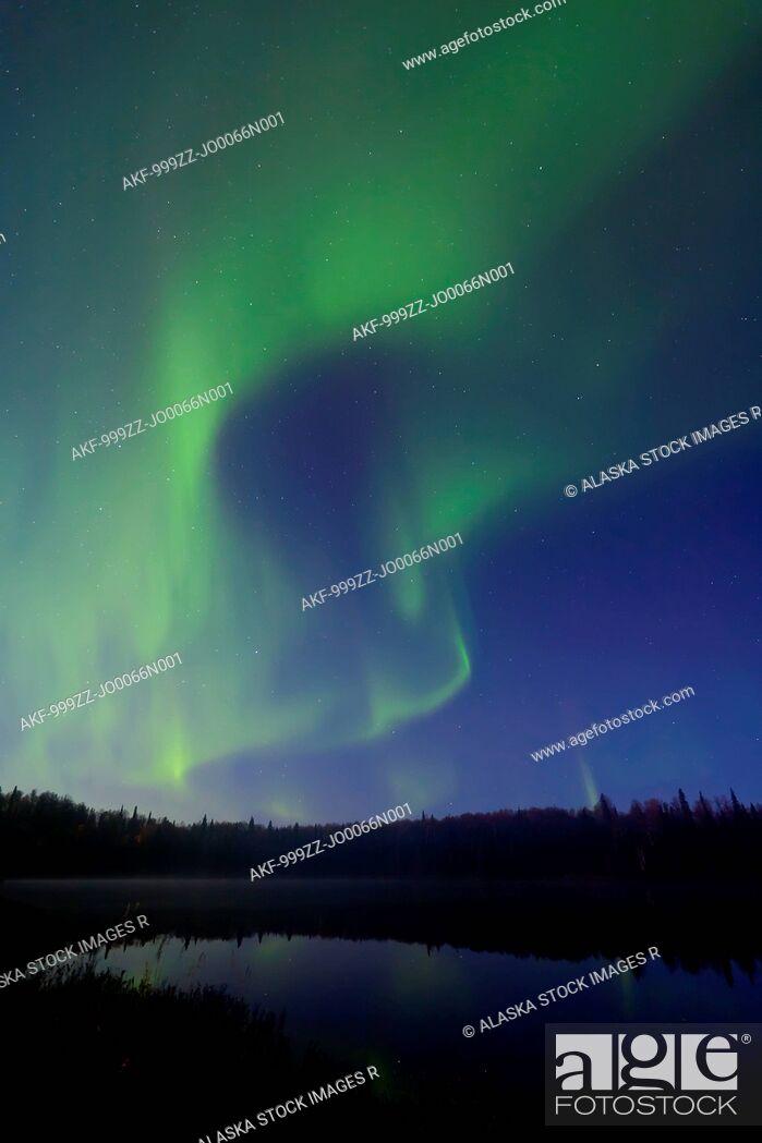 Stock Photo: Aurora Borealis over South Rolly Lake at Nancy Lake State Recreation Area, Southcentral Alaska, Autumn.