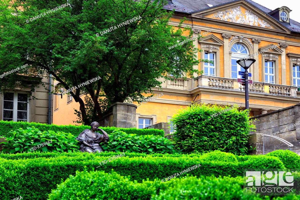 Stock Photo: Margravine Wilhelmine, Wilhelmine von Bayreuth sculpture, Schlossterrassen park, in background rectory, vicarage and nursery school buildings belonging to.