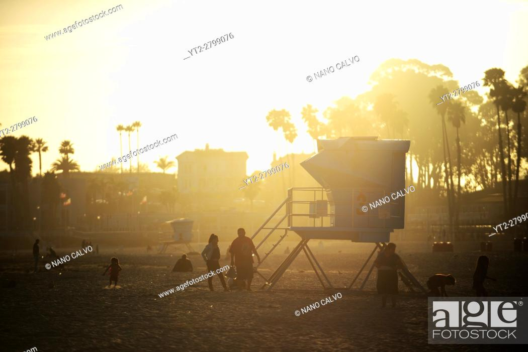 Stock Photo: Santa Cruz main beach at sunset, California.