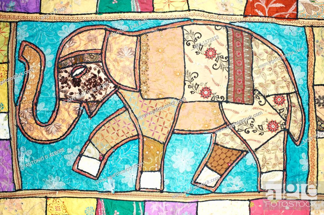 Stock Photo: Indian patchwork blanket with elephant design.