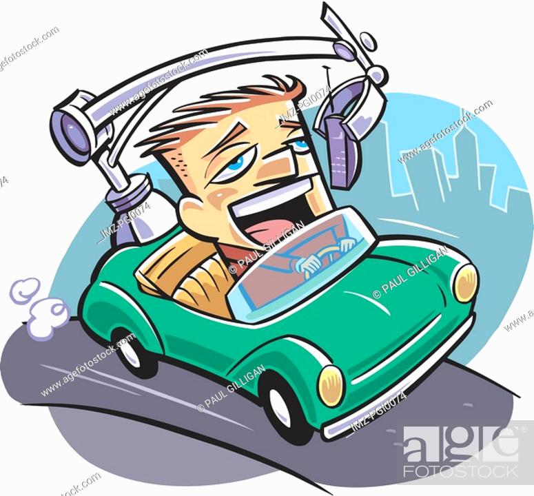 Stock Photo: A man driving while on the phone.