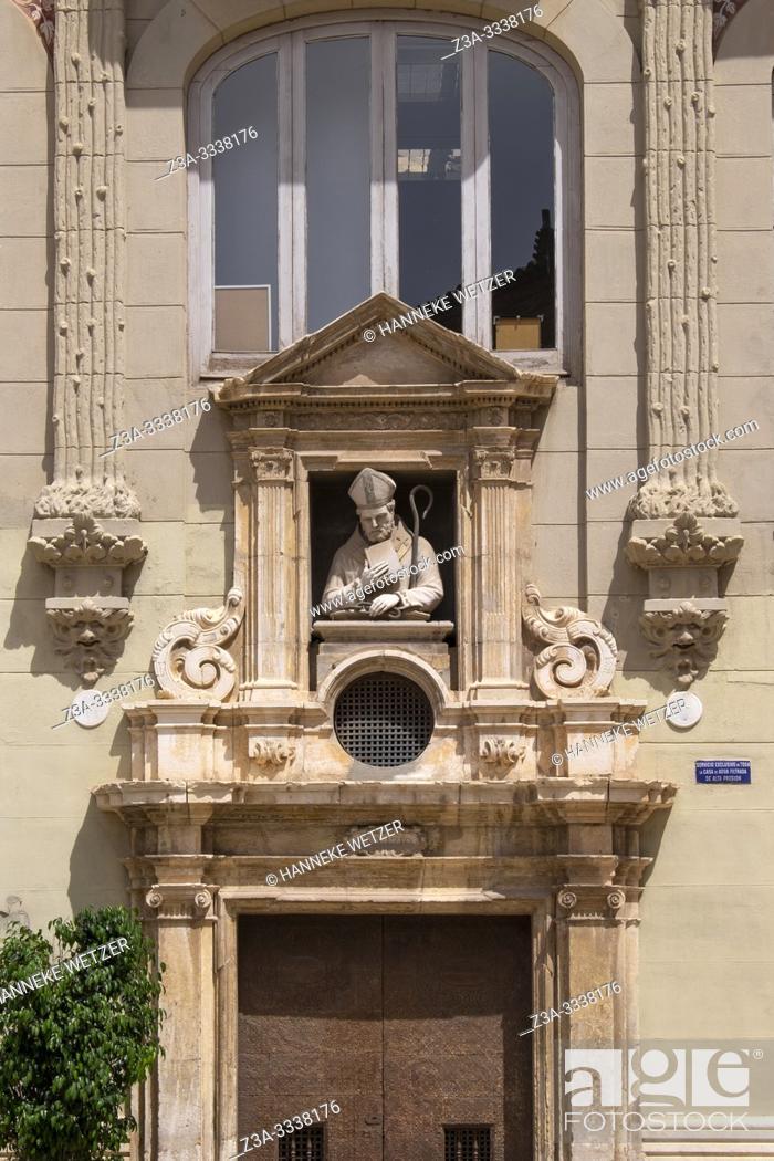 Stock Photo: Statue above the entrance of the Chapel of Saint Valero, La plaza de la Almoina in Valencia, Spain, Europe.