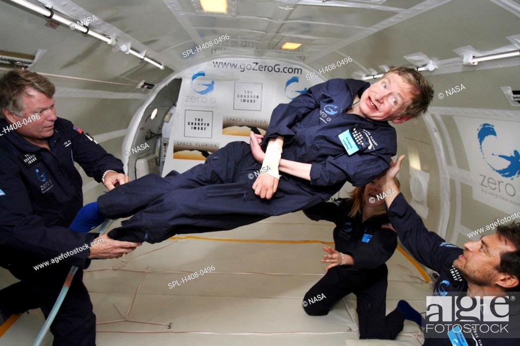 Stock Photo: Stephen Hawking, born 1942 British theoretical physicist, in freefall flight, 26 April 2007  He is on board a modified Boeing 727 jet owned by the Zero Gravity.