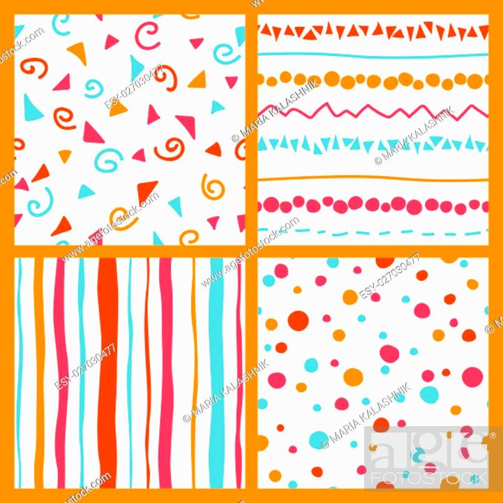 Stock Photo: Cute set with pink, orange, red, light blue and white colored seamless patterns collection with color points, flourishes Can be used for for wrapping paper.