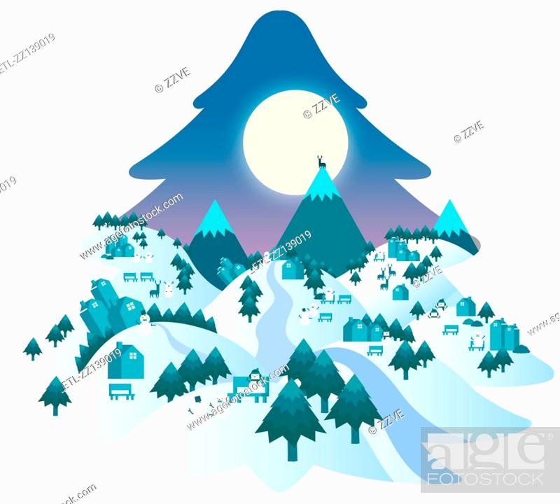 Stock Photo: Winter night landscape.