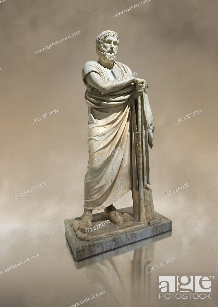 Stock Photo: Roman marble sculpture of Homer from the rectangular peristyle of the Villa of the Papyri in Herculaneum, Museum of Archaeology, Italy.