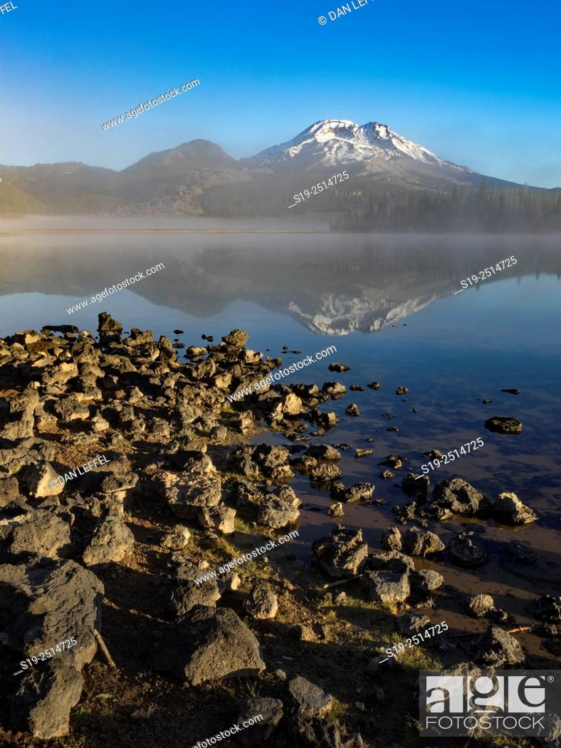 Stock Photo: Foggy sunrise at Sparks Lake with South Sister in Cascade Mountains.