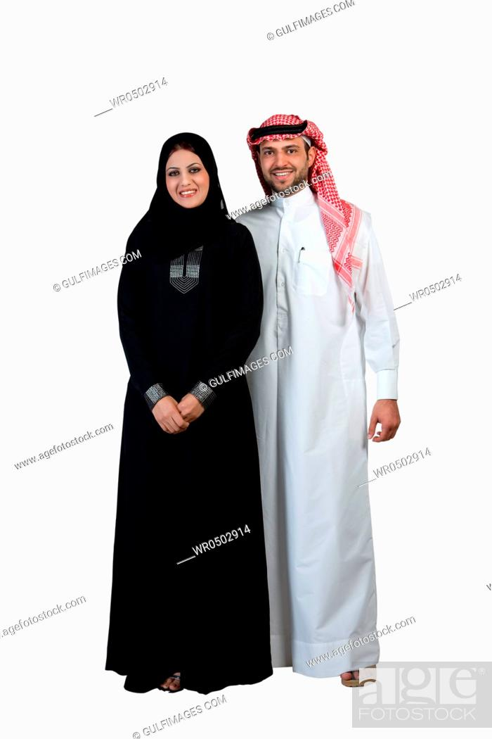 2e840e82f Arab couple wearing traditional dress, smiling, Stock Photo, Picture ...