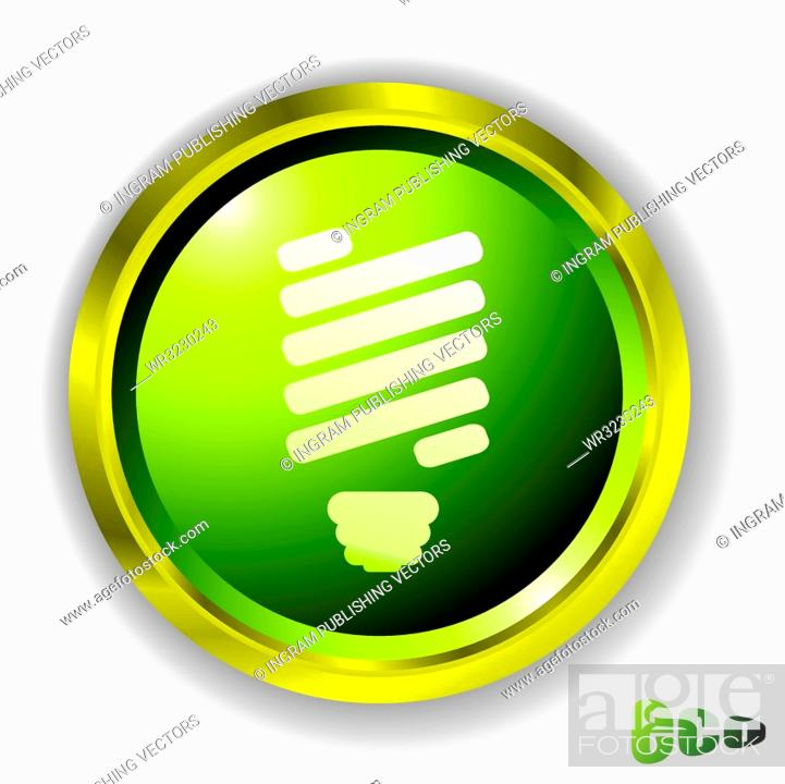 Stock Vector: Eco green style icon with light blb and outer gold metal bevel.