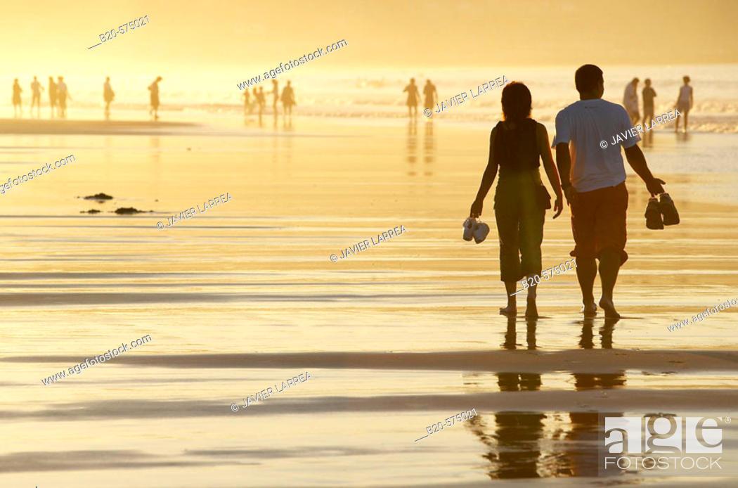 Stock Photo: Sunset, Hendaye beach, Aquitaine, Pyrenées Atlantiques, France.