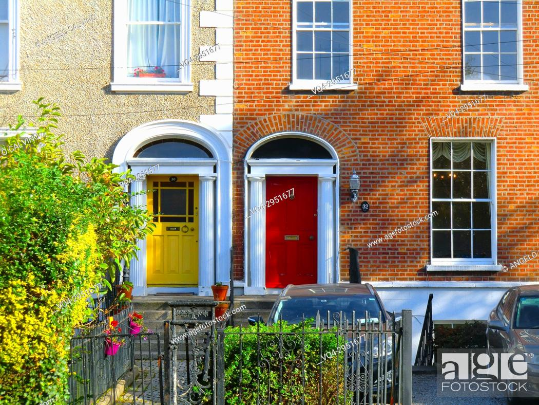 Stock Photo: Colorful british doors in a residential Area in the surrounding of St Stephen's Green, public park in Dublin in the city centre, Ireland, Europe.