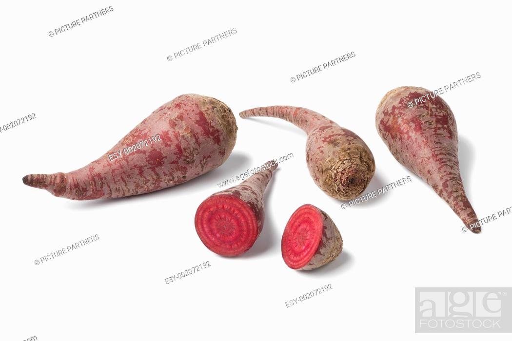 Stock Photo: Organic beets on white background.