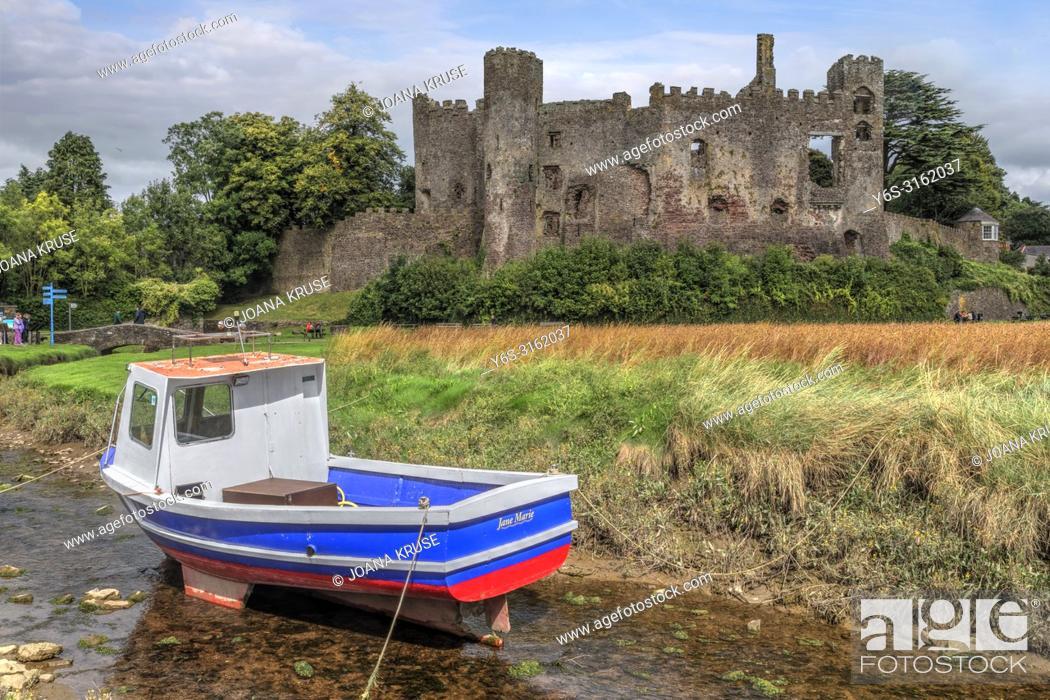 Stock Photo: Laugharne Castle, Carmarthenshire, Wales, UK, Europe.