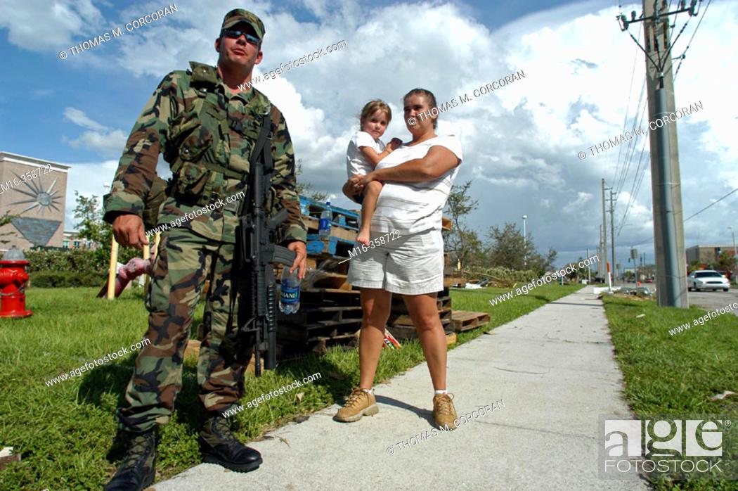 Stock Photo: Hurricane Charley. Punta Gorda. National Guard.