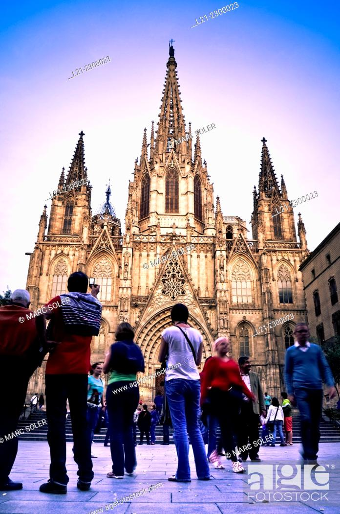 Stock Photo: Cathedral of the Holy Cross and Saint Eulalia, also known Barcelona Cathedral.