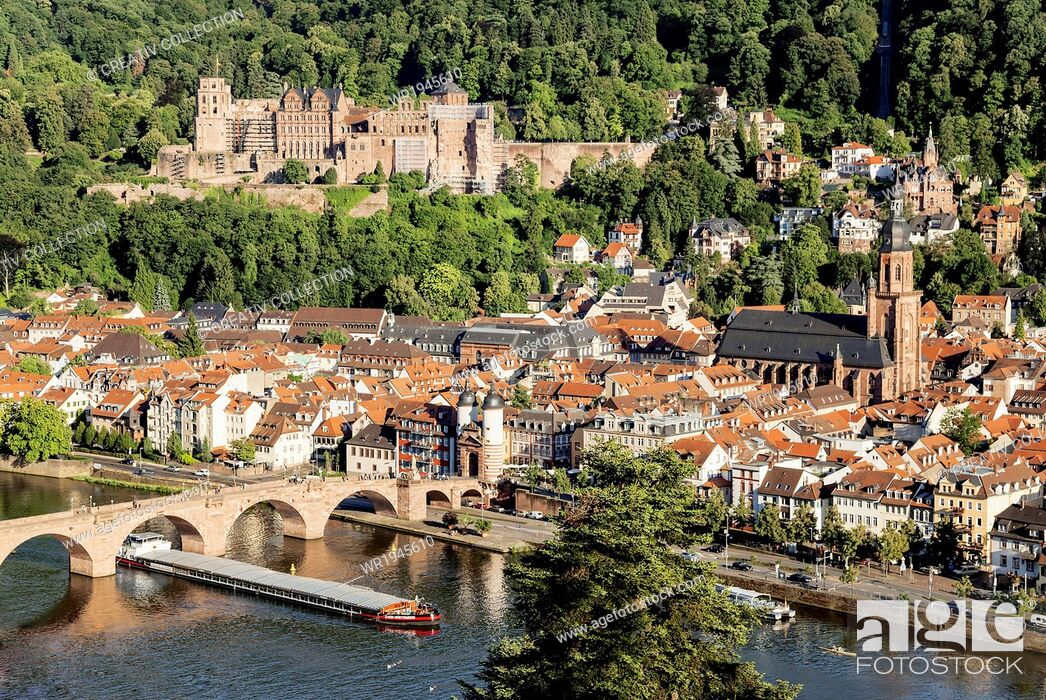 Stock Photo: Scruffy, Advance, Transporting, Freighter, Cargo Ship, Pub, Public House, Ailing, Deadbeat, Heidelberg, Ramshackle, Old Town, Inland, Water, Moving, Broken, Transport, Trip, Film, Piece, House, River, City, Traffic, Ruins, Castle, Old, Architecture, Building, Boat
