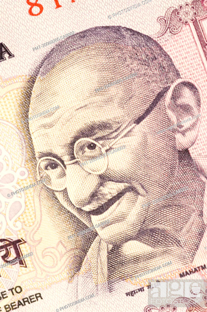 Stock Photo: Close-up of Mahatma Gandhi on an Indian fifty rupee banknote.