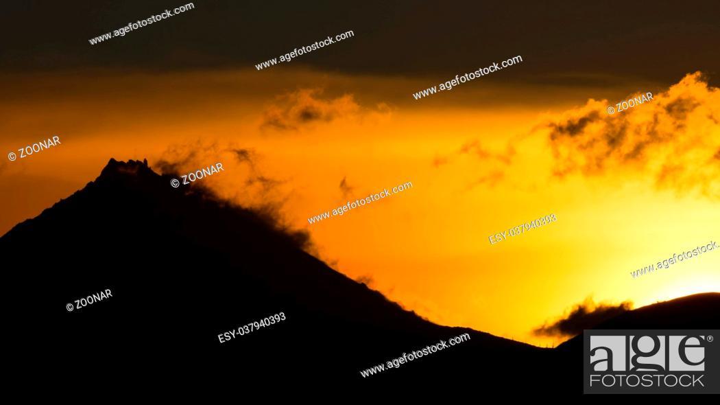 Stock Photo: Sunrise Over volcanoes of Kamchatka Peninsula.
