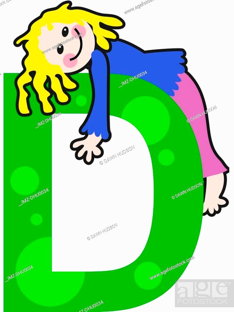 Stock Photo: A kid with the letter D.