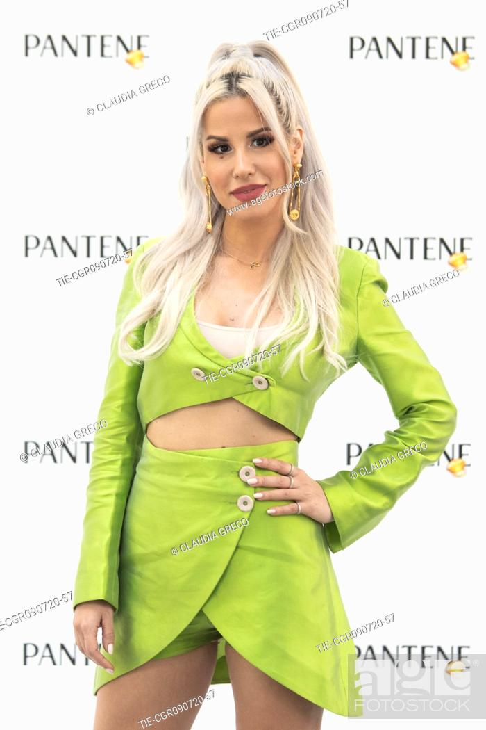 Stock Photo: Italian rapper Baby K testimonial of the new spot Pantene Estate during the Pantene digital event in Milan, ITALY-09-07-2020.