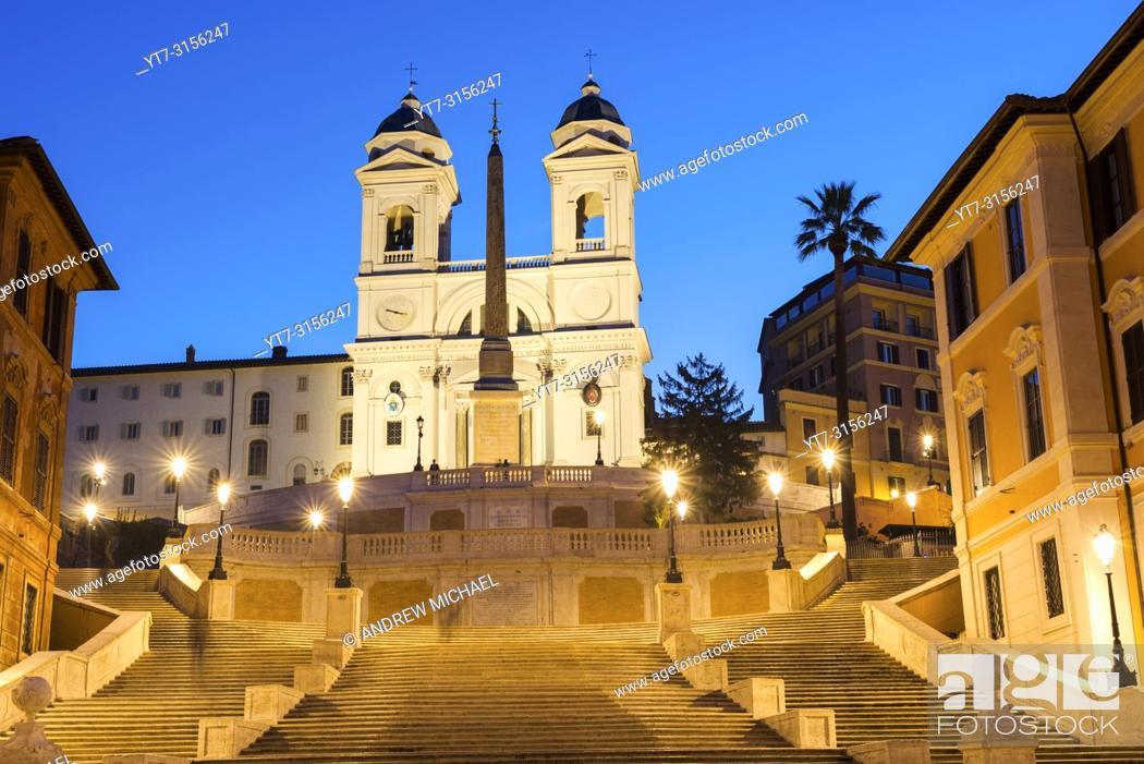 Stock Photo: The Spanish Steps (Scalinata di Trinità dei Monti), Rome, Italy, between Piazza di Spagna and Piazza Trinità dei Monti & Trinità dei Monti church.