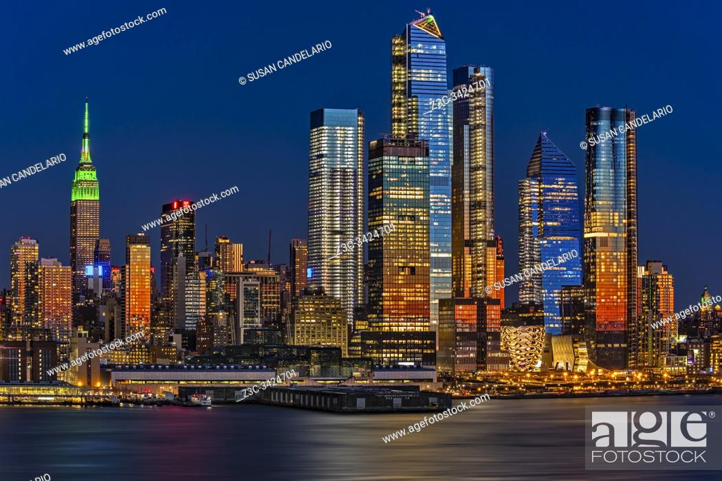 Stock Photo: The NYC skyline, as well as the Chelsea and Hudson Yards neighborhoods of Manhattan in, New York City.