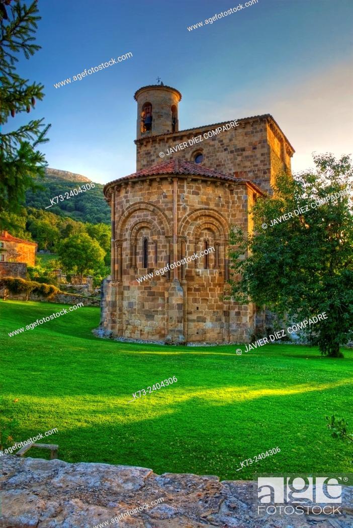 Stock Photo: Romanesque Collegiate Church (12th Century). San Martin de Elines. Valderredible. Cantabria. Spain.