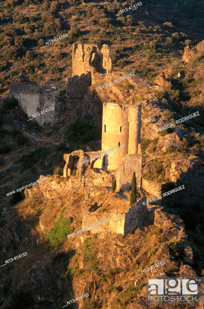 Stock Photo: Cathar castles: Lastours, Montagne Noire. Aude, France.