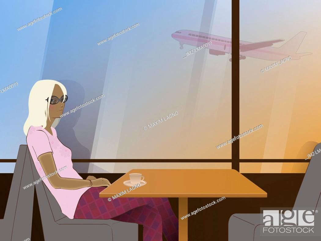 Stock Photo: A woman waiting in a cafe and an airplane outside the window.