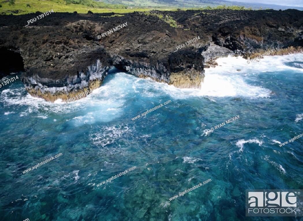 Stock Photo: Rock Coastline, Maui.