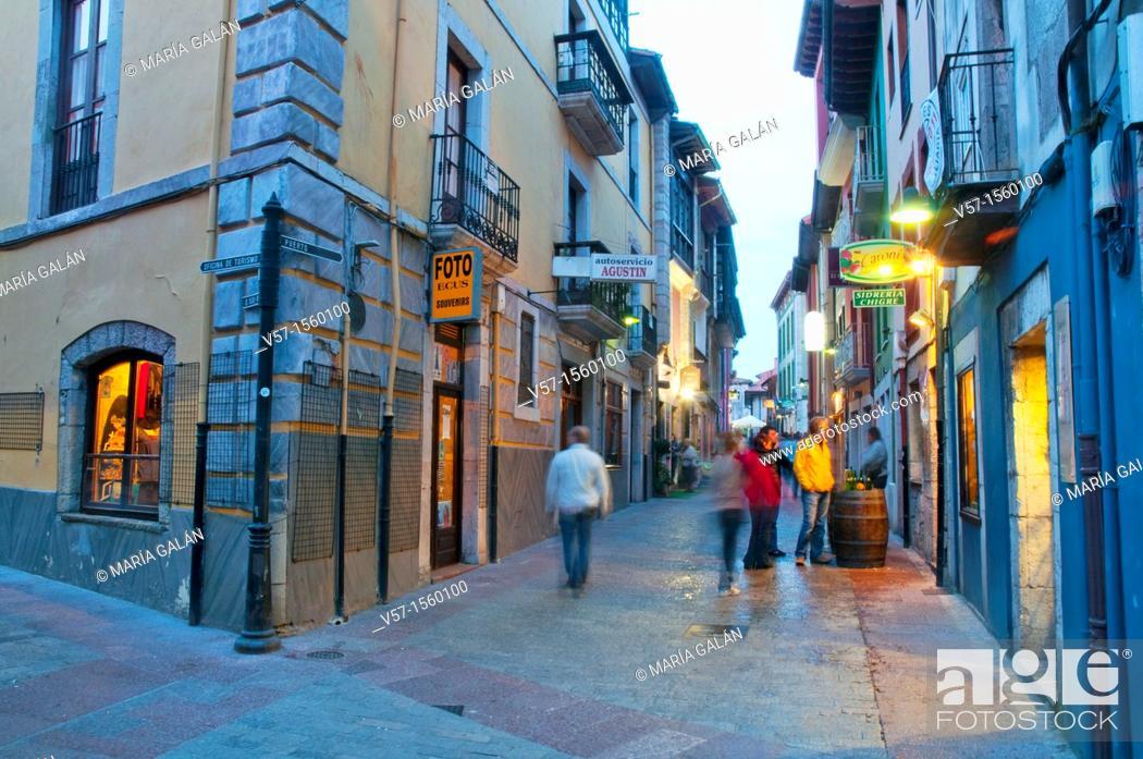 Stock Photo: Street at night. Llanes, Asturias province, Spain.
