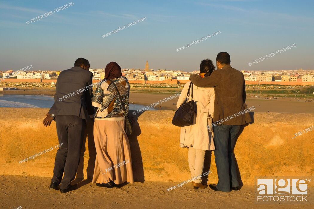 Stock Photo: Couples at Platforme du Semafore viewing platform Kasbah des Oudaias fortress Rabat the capital of Morocco Africa.