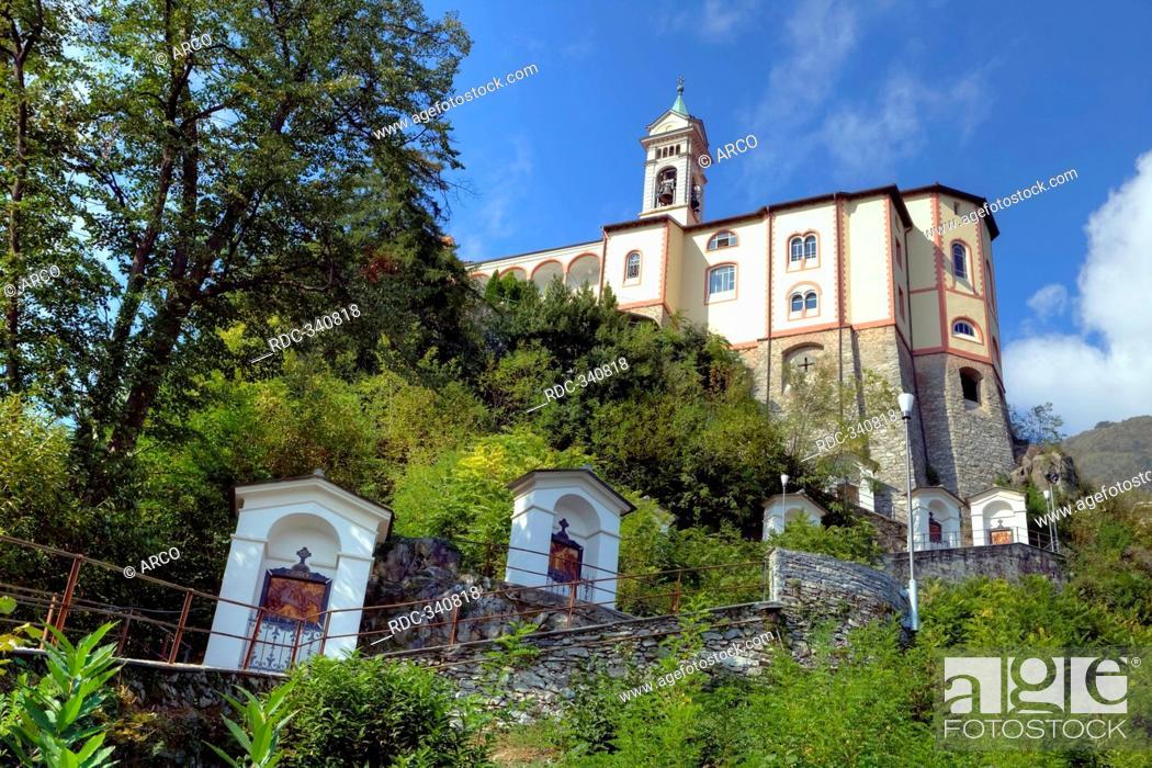 Stock Photo: Pilgrimage church Madonna del Sasso, Lago Maggiore, Locarno, Ticino, Switzerland / Lake Maggiore.