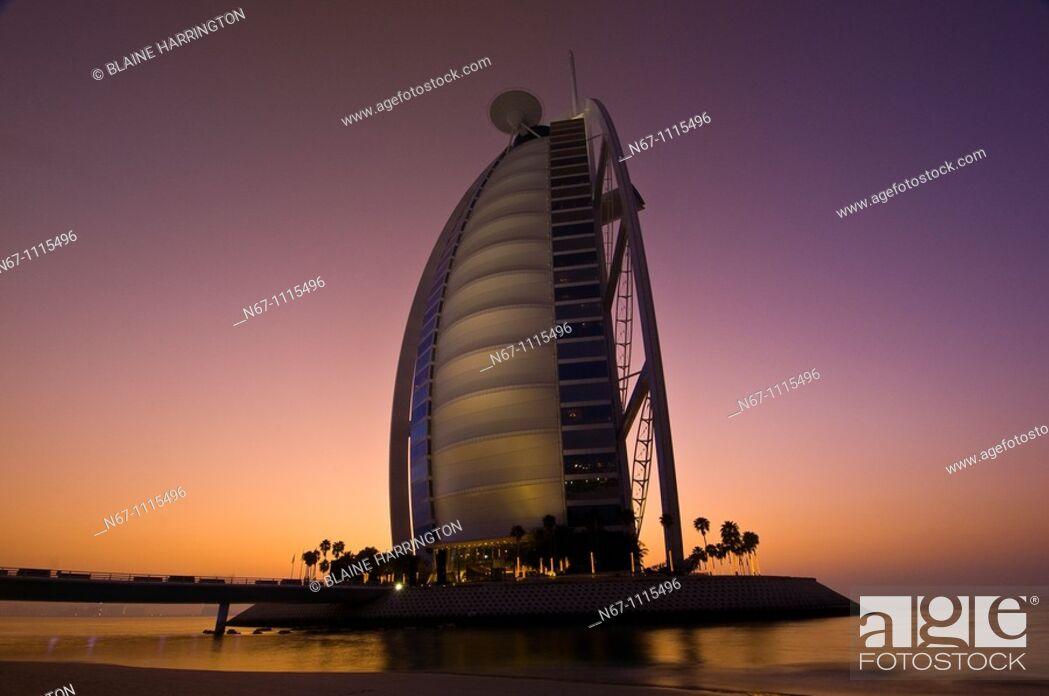 Stock Photo: Burj Al Arab Hotel designed to resemble a billowing sail, Dubai, United Arab Emirates (March 2010).