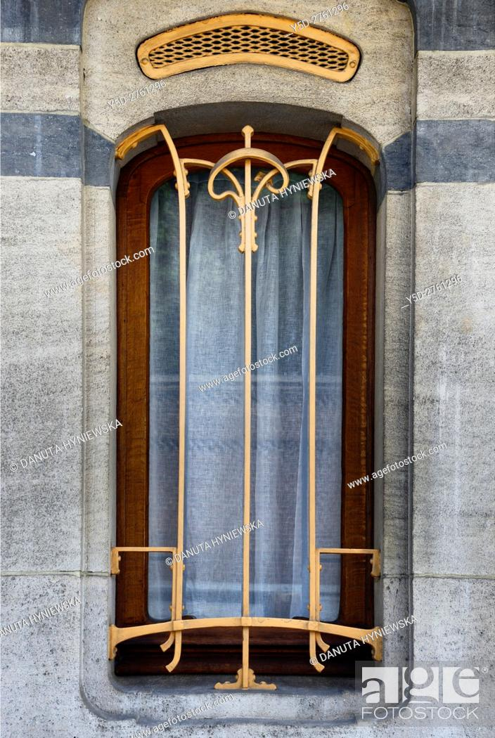 Stock Photo: Architectural detail - Art Nouveau Victor Horta's own house and atelier designed in late 1890s, together with three other town houses it was put on the 'UNESCO.