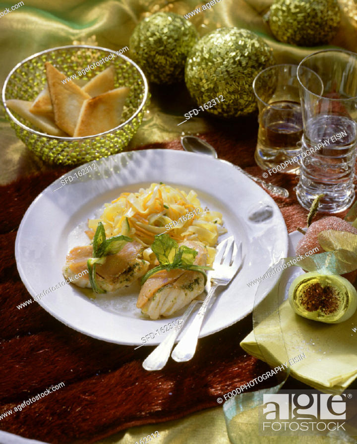 Stock Photo: Monkfish wrapped in salmon, with ribbon noodles (2).