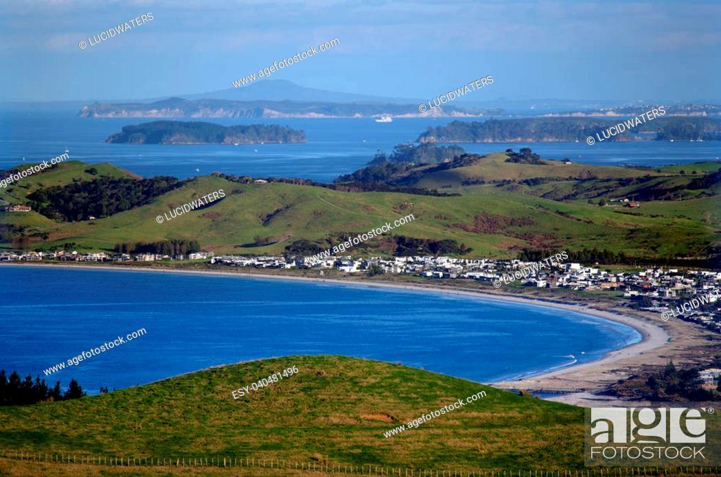Stock Photo: Aerial view of Omaha Bay Matakana, New Zealand.
