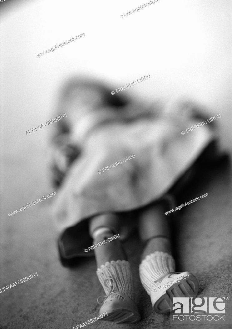 Stock Photo: Doll, blurred, b&w.