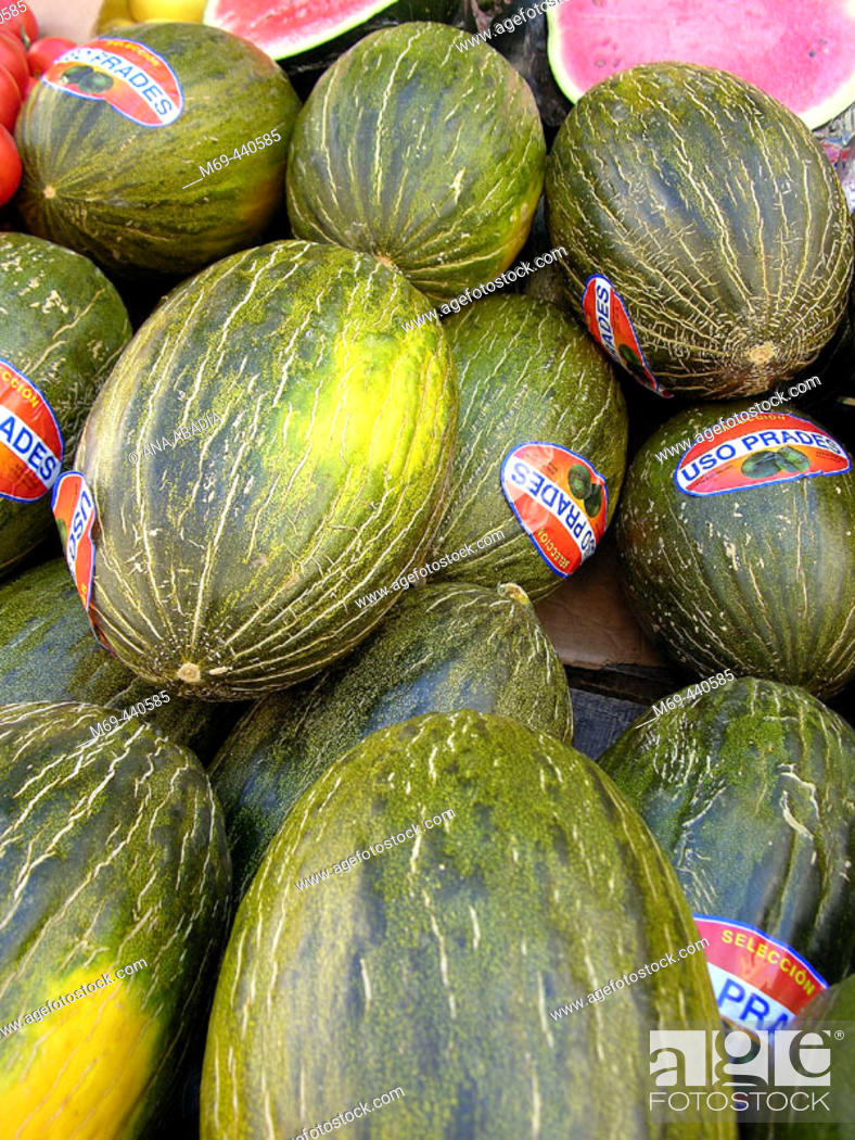 Stock Photo: Melons for sale in market. Camprodon. Girona province, Catalonia. Spain.