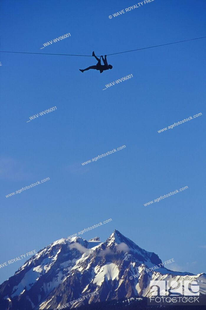 Stock Photo: Traversing Between Two Peaks, Squamish, BC, Canada.